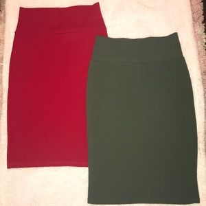 Pencil Solid Red and Army Green Skirts